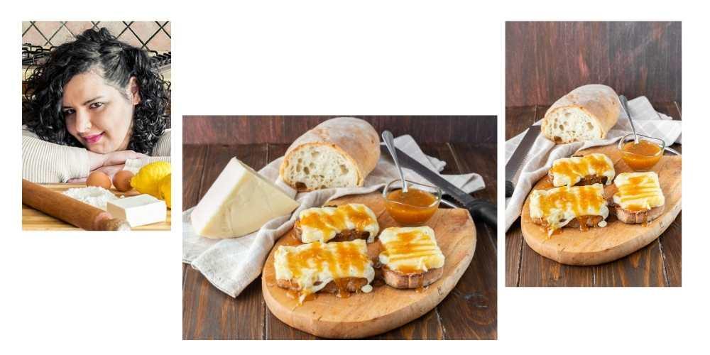 Francesca Lucisano e i crostoni di pane con provolone valpadana e salsa al miele